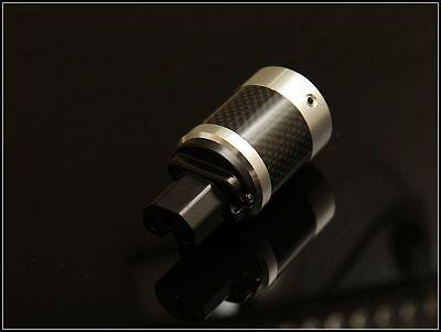 Valab Carbon Housing Rhodium Plated Copper Power Cord Female Plug