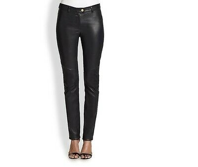 Gut Ausgebildete New Genuine Lambskin Leather Skinny Pants Seamed Mid Rise Five Pocket Women Der Preis Bleibt Stabil