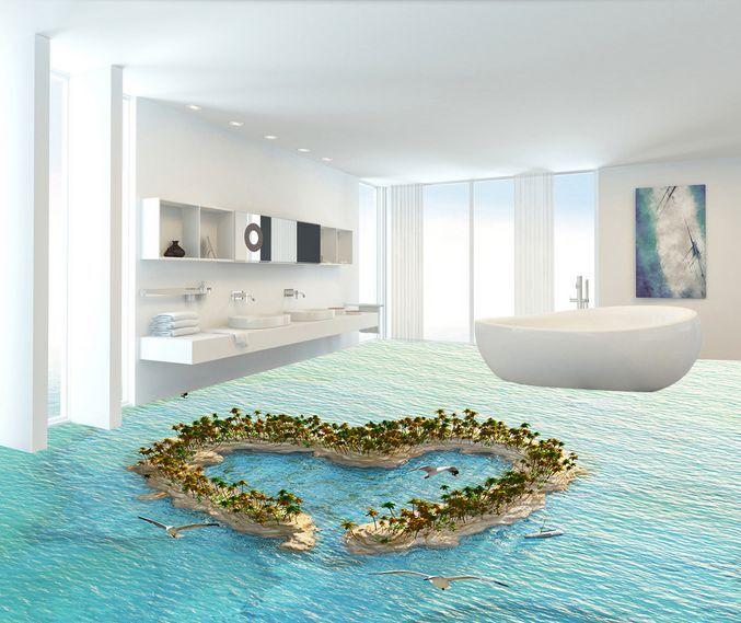 3D Amour île Fond d'écran étage Peint en Autocollant Murale Plafond Chambre Art