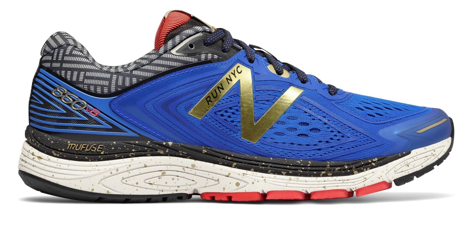 New Balance Men's 860v8 NYC Marathon shoes bluee with gold
