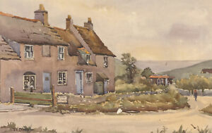 E-L-Grassby-Mid-20th-Century-Watercolour-Worth-Matravers-Dorset