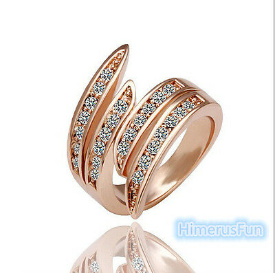 Fashion Wedding Ring Rose Gold Swarovski Crystal Rings 6/7/8/9 Size