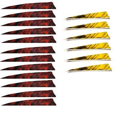 """Arrows & Parts Federnset Für 6 Pfeile Gateway 4"""" Shield Naturfedern Camo Rot/gelb Befiederung Superior Performance Fletches"""