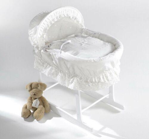 Rocking Stand IsabellaAlicia White BA Frill Designer Baby wicker Mosesbasket