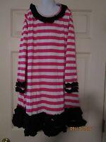 Girls Hot Pk & Black Stripe A-line Dress W/ Ruffles Holiday Monogram Lolly