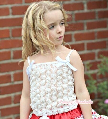 Pure White Romantic Rose Tank Top Pettitop Shirt Girl For Pettiskirt NB-8Year