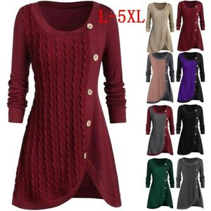 Women-Plus-Size-Jumper-Sweater-Pullover-T-shirt-Casual-Tunic-Tops-Asymmetric-Hot