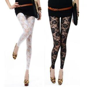 Women-All-Match-Through-Footless-Lace-Pants-Rose-Hollow-Leggings