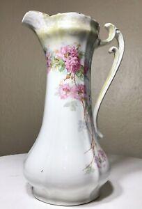 Antique-La-Francaise-Porcelain-Elegant-Gold-Rose-Floral-Chocolate-Pot-10-5-034-Tall