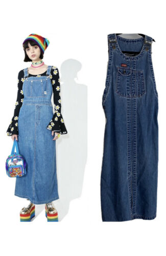 Vintage 90's DKNY Overalls Denim Dress Sz M
