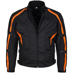 Breve-Giacca-Moto-Cordura-Tessuto-SCOOTER-MOTOCICLISTA-NERO-ARANCIO-TAGLIA-M-fino-a-6xl-784