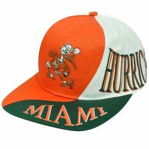 NCAA-MIAMI-HURRICANES-SNAP-BACK-FLAT-BILL-VINTAGE-HAT-with-SMOKING-IBIS