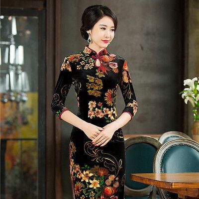 Chinese Women's velvet Dress Red Cheongsam QiPao Evening Short Dress S--4XL