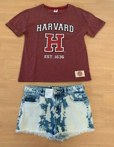 Girls-size-10-Burgundy-HARVARD-tee-amp-blue-white-dyed-denim-shorts-Target-NEW