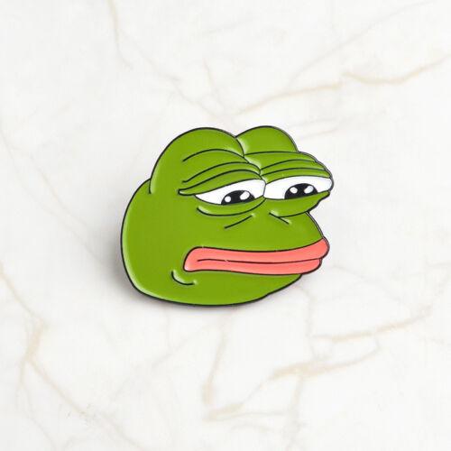 Gifts Creative Funny Cute Sorrowful Pepe The Frog Drink Enamel Brooch Pins Badge