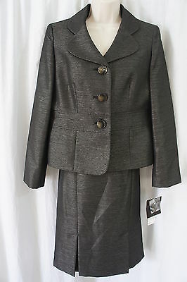 Inventive Le Suit Petite Skirt Suit Sz 10p Black Champagne Wild Spirit Business Cocktail Suits & Suit Separates