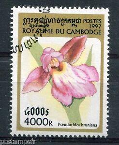 Ponctuel Cambodge - 1997, Timbre 1481, Fleurs, Orchidee, Pseudorhiza, Oblitéré Peut êTre à Plusieurs Reprises Replié.