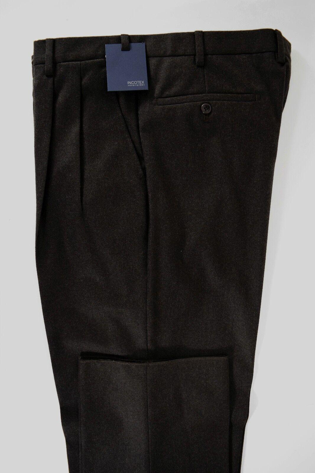 INCOTEX pantalone uomo CLASSICO lana super 100's Marroneee A I tg. 50-60(IT)
