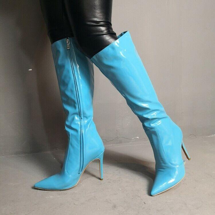 Damenschuhe Kniehoch Stiefel Reißverschluß Spitz Stiletto Sehr Hoher Absatz Sexy