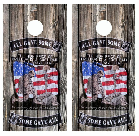 All Gave Some Some Gave All Barnwood  Cornhole Board Wraps  FREE LAMINATE  in stadium promotions