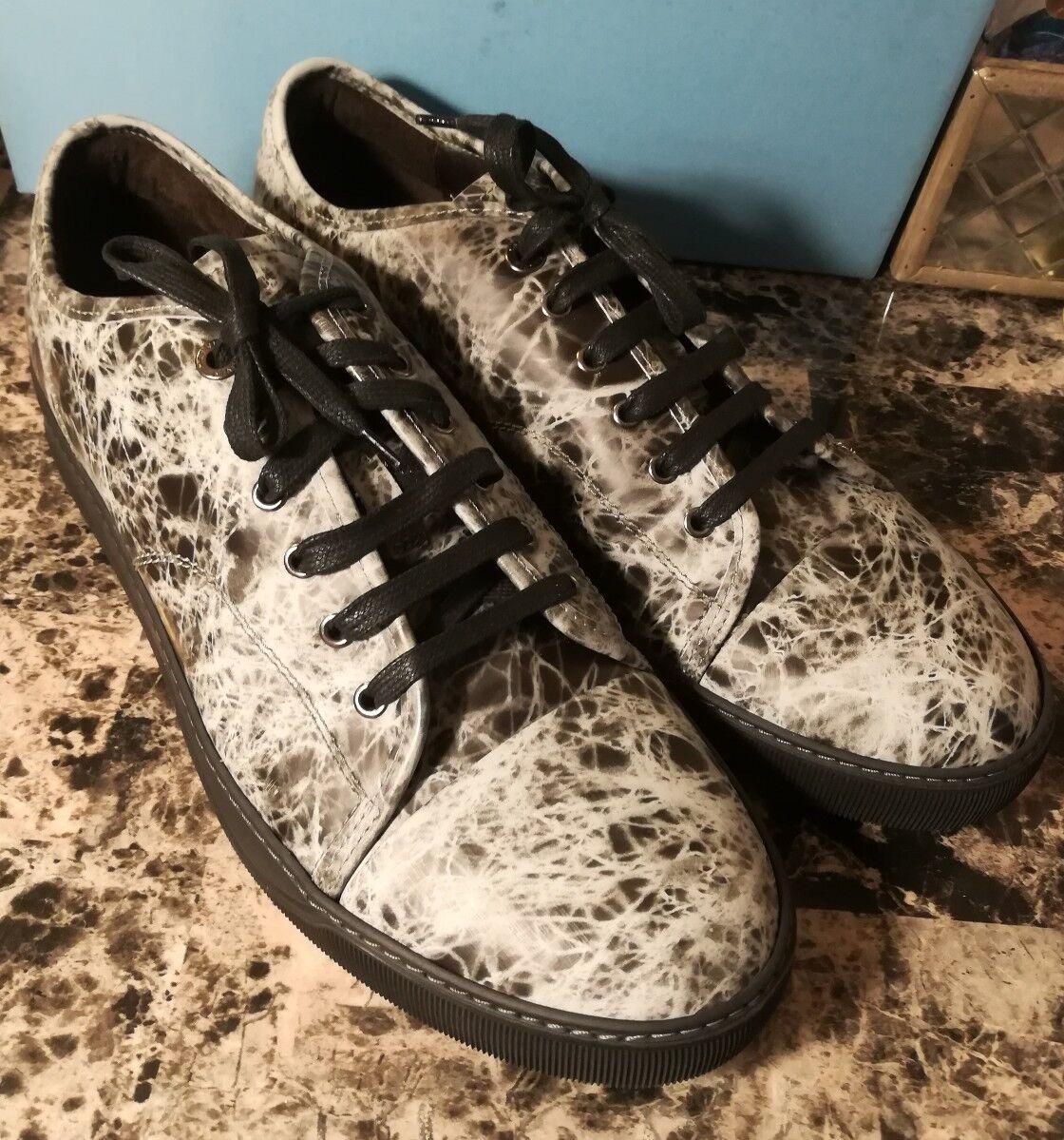 Lanvin Marble Effect Cap Toe Calfskin scarpe da ginnastica, NIB Dimensione 12 UK  13 US   595