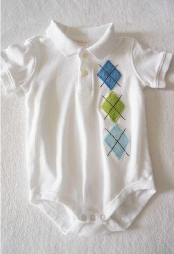 Gymboree Baby Boy Polo Collar Argyle Cotton Bodysuit Size 0-3-6  months
