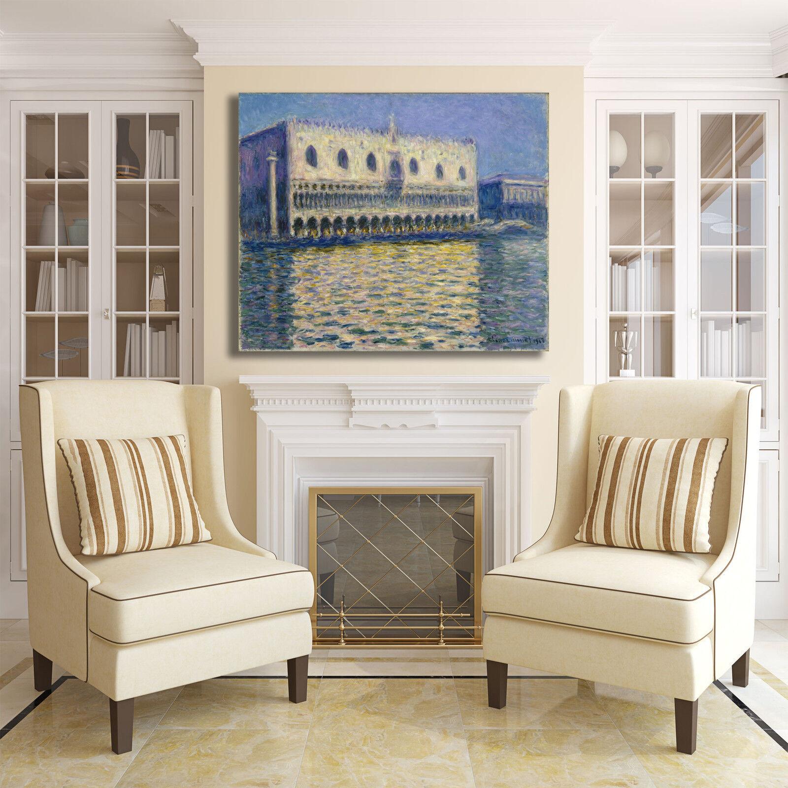Monet il palazzo ducale design quadro stampa tela telaio dipinto telaio tela arRouge o casa 5b31eb