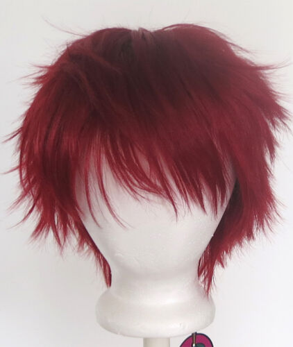 11'' Short Messy Spiky Crimson Red Synthetic Cosplay Wig NEW
