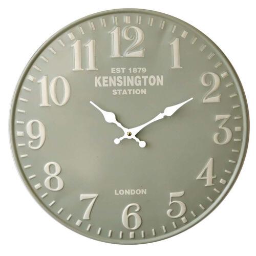 Distressed Retro Wall Clock 40 cm Analogue Green Kensington Station Battery