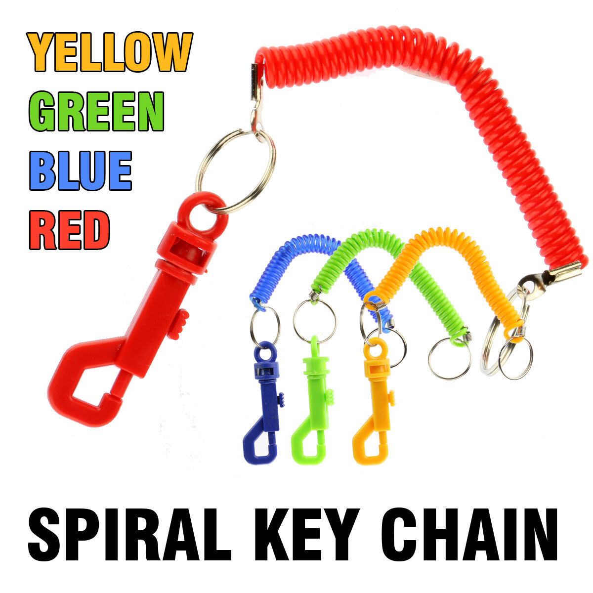 SPIRAL KEYRING  AND BELT ATTACHMENT GREEN YELLOW BLUE RED