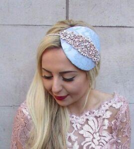 Rose Gold Duck Egg Light Blue Ivory Cream Fascinator Headband Hat Races Vtg 4737