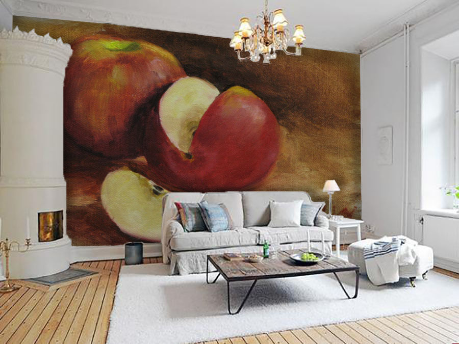 3D Schneiden Sie Apfel 265 Fototapeten Wandbild Fototapete BildTapete Familie DE
