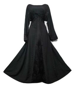Victorian Medieval Black Dress Corset Stonewash Rayon High Quality Uk Size 16 18 Ebay