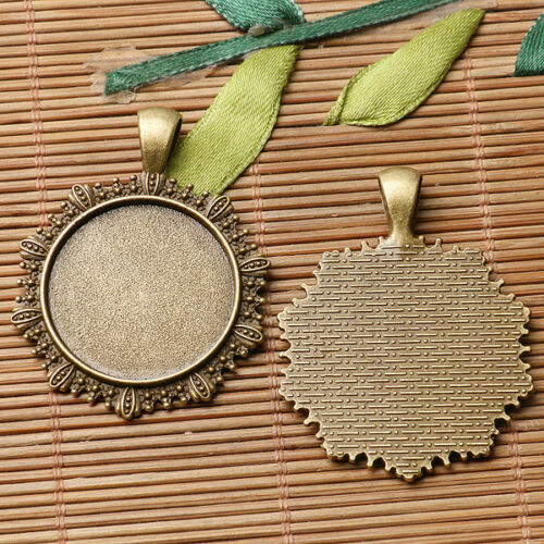 3pcs antiqued bronze color  floral rim  round cabochon setting in 25mm EF3103