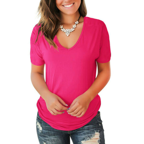 Damen Kurzarm Hemd T-Shirt Tunika Bluse Oberteil Top Sommer Freizeit Basic Tee