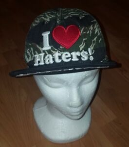 89eb5546e Details about DGK Skateboarding Black Tiger Camo I Love Heart Haters  Snapback Baseball Hat Cap