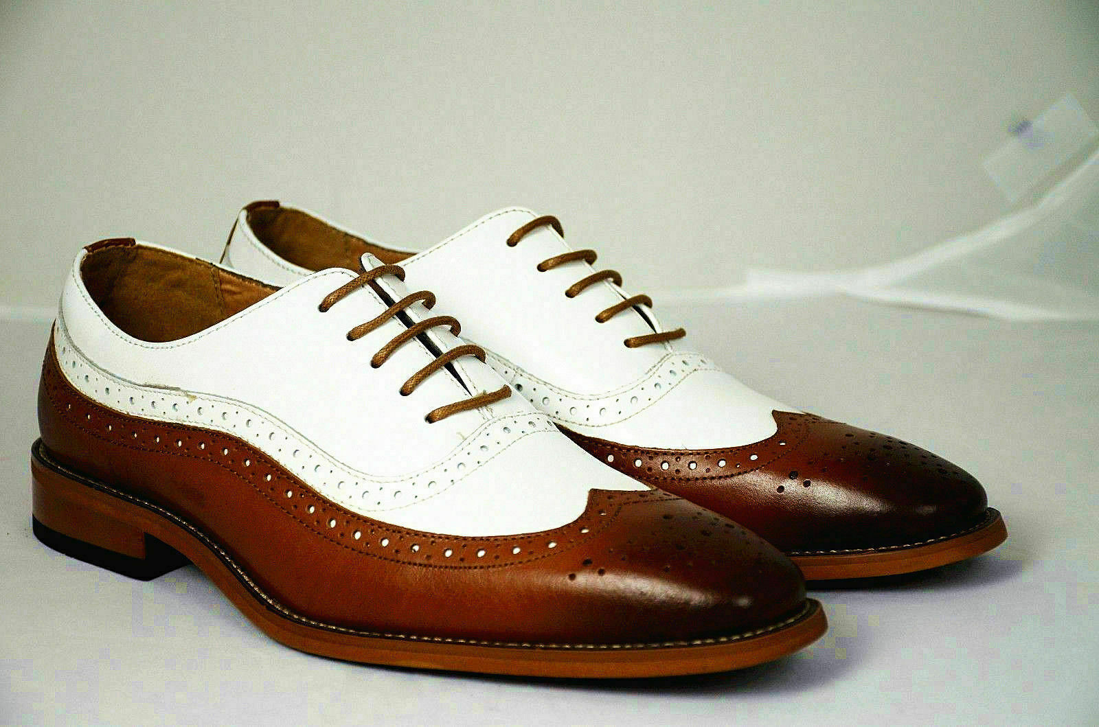 Mens Handmade shoes Two Tone shoes Dark Tan & White Brogue Formal LaceUp Boot New