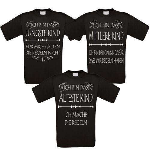 Familienshirts schwarz - 2er 3er 4er oder 5er Set - Kinder und die Regeln