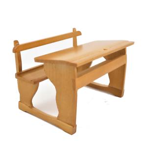 Puppenhaus Doppel Schule Schreibtisch /& Bench Altmodische Kiefer 1:12 Möbel