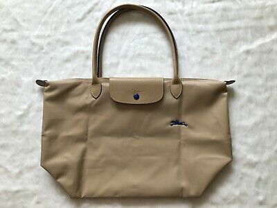 Auth Longchamp Le Pliage Club Collection Horse Embroidery Large Tote Beige  | eBay