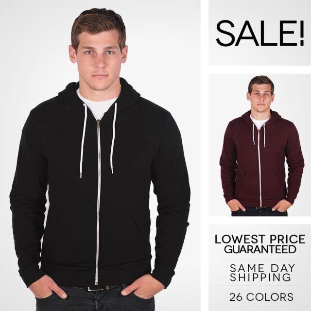 NEW American Apparel Zip Hoodie Flex Fleece F497 Hooded Sweatshirt 25 Colors!