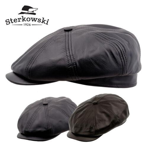 Genuine Leather 8 Panel Gatsby Flat Cap ; Newsboy Vintage Thug Applejack Driving