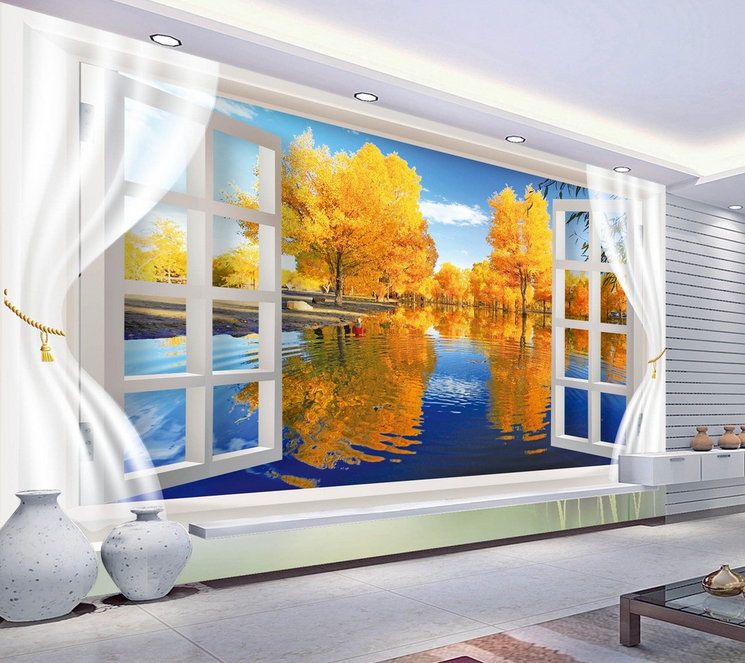 3D Sky Gelb Tree Lake 39 Wallpaper Mural Paper Wall Print Wallpaper Murals UK