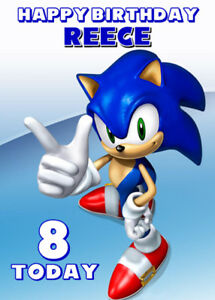 Sonic The Hedgehog Personalised Birthday Card Add Your Own Name Age Ebay
