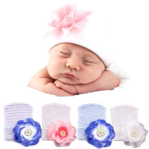 Cute Newborn Baby Hospital Cap Girls Infant Big Flower Soft Cotton Beanie Hat