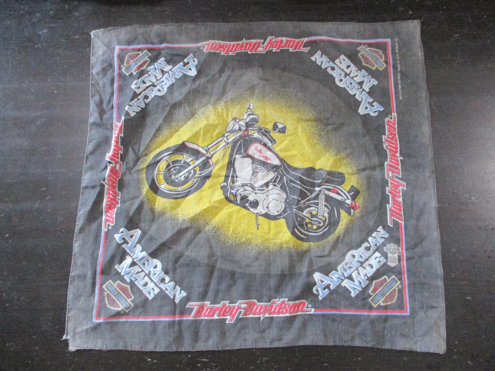 VINTAGE Harley Davidson Bandana Black Red Motorcycle Biker Handkerchief 90s*