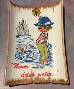 Vintage-Goebel-W-Germany-Dish-Wall-Plaque-Flower-Child-Peeing-Never-Drink-Wate