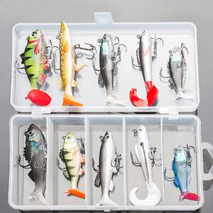 Soft-Fishing-Lure-wobblers-Natation-Bass-Appat-silicone-de-peche-Leurres-Poisson-Jig
