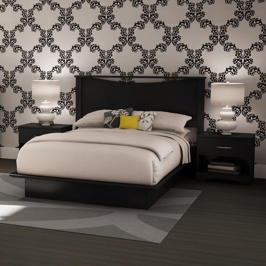Black 4 Piece Full Platform Headboard Bed Collection Set Home Bedroom  Furniture