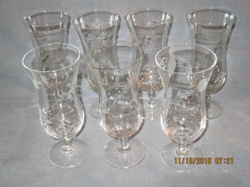 Set of 7 Vintage Parfait Glasses - Etched Floral Pattern